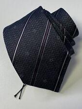 John Varvatos USA 100% Silk Textured Stripe Stars Neck Tie Italy Gray Purple
