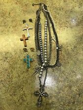 Lot of 8 TURQUOISE & SILVER CROSSES, WOODEN CROSS, 4 LAPEL PINS, Charm NECKLACE