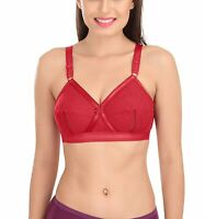 SONA Women's Cotton Non-Padded Non-Wired Full Coverage Bra, Red Color