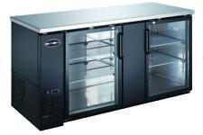 """Saba 69"""" Black Back Bar Refrigerator & Beverage Cooler, 2 Glass Doors, 27"""" Depth"""