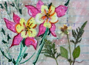 """ACEO-""""Floral 114"""" Original/Signed Mixed Media/Collage/Contemporary Art/Florals"""