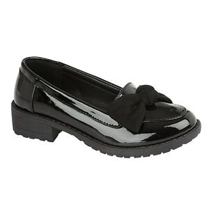 GIRLS KIDS LADIES BLACK PATENT LOW HEEL BOW SLIP ON LOAFERS SCHOOL SHOES SIZES