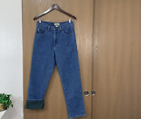 Vintage LL Bean Classic Fit Denim Jeans Men's Sz 30 X 30 Green Fleece Lined 90s