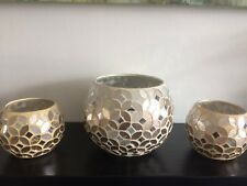 Champagne Mosaic Mirrored Sparkle Round Vase With 2 Matching Tealight Holders