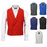 Mens Vintage Double Breasted Collar Waistcoat Retro Peak Lapel Smart Casual Vest
