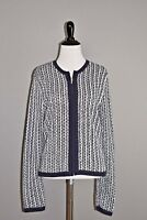 CHAPS NEW $89 Navy White Front Zip Cardigan Sweater Medium