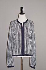 CHAPS NEW $89 Navy White Front Zip Cardigan Sweater Medium