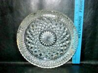 Vintage Ash Tray Clear Pressed Glass Ashtray Cut Crystal look Glass 1960s 8 inch