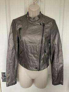 TOPSHOP Faux Leather Biker Jacket UK 8 EU 36 Metallic Grey Excellent Condition