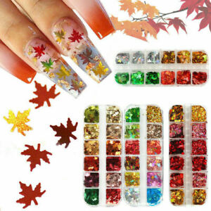 12Colors Autumn Maple Leaf Nail Art Glitter Sequins Holographic Nail Tips Decor