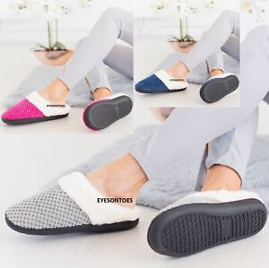 LADIES WOMENS WARM FAUX FUR LINED COMFY HARD SOLE OUTDOOR SLIPPERS SHOES SIZE