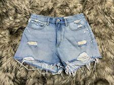 Rag & Bone Maya High Rise Blue Denim distressed Shorts Size 28