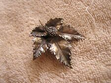 Vintage Signed EGGERT Denmark 'Flora Danica' Sterling Silver Leaf  Brooch