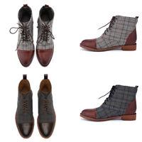 Men's Plaids Print Block Heel Oxfords Boots Casual Lace-ups Shoes Size 7.5-11