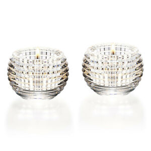 NEW BACCARAT CRYSTAL EYE VOTIVE PAIR CLEAR #2810638 BRAND NEW IN BOX SAVE$ F/SH