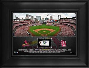 """St. Louis Cardinals Framed 5"""" x 7"""" Stadium Collage & Piece of Game-Used Baseball"""