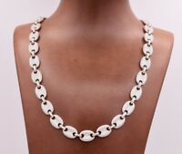 10mm Puffed Gucci Mariner Pave CZ Link Chain Necklace Real 925 Sterling Silver