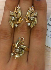 Vintage gold Ring Earring 585 14K Set USSR style Russian Gold 13,03g