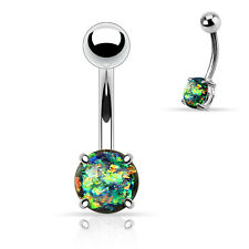Synthetic Opal Glitter Prong Set Surgical Steel Navel Belly Button Ring 14g 3/8""