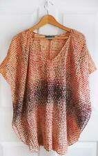 ANTHROPOLOGIE LIL sz 2 patterned coral black cream silk tunic s/s blouse EUC