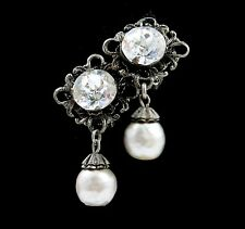 MIRIAM HASKELL Baroque FAUX PEARL & Brilliant RHINESTONE CLIP Earrings Vintage