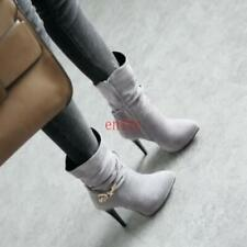 Lady Ankle Boots Pointed Toe High Heels Pumps Zip Shoes Plus Size Retro boots