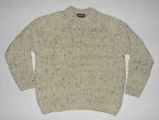Lands End Wool Oatmeal Fleck Cable Knit Fisherman Sweater England L Large Chunky