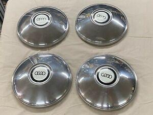 Audi 100 LS C1 F104 Chrome Hubcaps Center Caps Wheel Covers Dog Dish