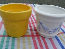 2 x ceramic plant pots white/blue + yellow