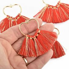 2 Large Tassel Charms Gold HEART with RED Fringe Tassels 75x55mm chs4726