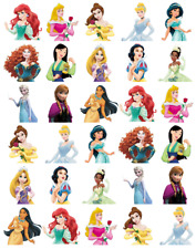 30x Disney Princess Half Cupcake Toppers Edible Wafer Paper Fairy Cake Toppers