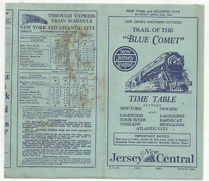 """1932 - TRAIL OF THE """"BLUE COMET """" TIME TABLE- NEW JERSEY CENTRAL"""