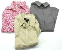 Lot Of 3 Womens Size Small Shirts Long Sleeve Button Down Casual Career Blouse