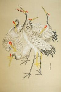 Pair of Japanese hanging scroll paintings - cranes - early 1900s - Kanji script