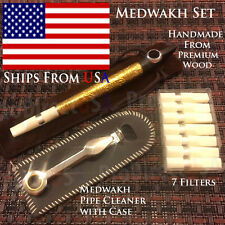 Traditional Iranian Wooden Medwakh Arabian UAE Dokha Tobacco Smoking Pipe SET W4