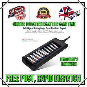 10 Slots Intelligent EBL Fast Battery Charger for AA AAA Alkaline Batteries UK
