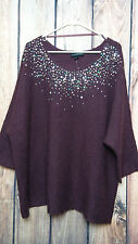 Sweater Knit Sleeve Pull Over Burgundy Sequin Embellished