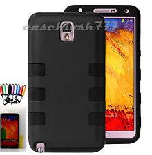 For Samsung Galaxy Note III 3  black soft hard case 2 layer + heavy duty/