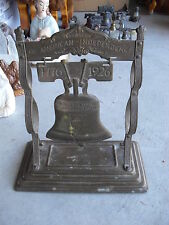 """Large Vintage 1926 Thin Brass Liberty Bell Figure 10"""" Tall  LOOK"""