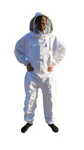 White Beekeepers Bee Suit with Fencing Veil  260gsm Polycotton SIZE - MEDIUM