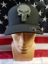 Punisher Skull L/XL FlexFit Hat/Cap Black w PVC Patch Gray
