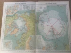 Vintage Antique 1939 Philips Map 20x15 North & South Polar Regions NW Passage