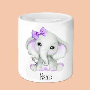 Personalised Purple Bow Elephant Money Box, 11oz Money Box, gifts for everyone