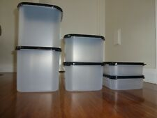 Tupperware HUGE DISCOUNT Brand New Black Set of 6 Squares Free Labels. RRP $180