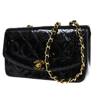 CHANEL CC Logo Matelasse Diana Chain Shoulder Bag Patnet Leather Black 318R471