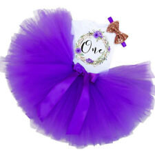 1st Birthday Baby Girl Bodysuit Tutu & Headband 3 PCS Purple Floral Outfit NEW
