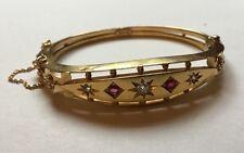 Antique Victorian Edwardian 15ct Gold Natural Ruby Diamond Set Hinged Bangle
