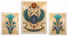 Egyptian Art Prints Winged Scarab Lotus Wall Decor