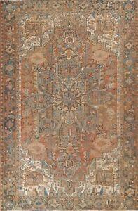 Semi-Antique Geometric Traditional Oriental Area Rug Low Pile Handmade Wool 9x12