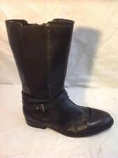 John Lewis Black Mid Calf Leather Boots Size 3